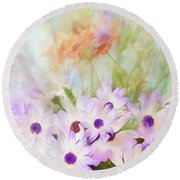 Painterly Spring Daisy Bouquet Round Beach Towel