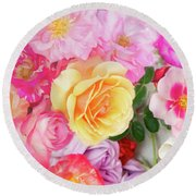 Painterly Tea Party With Fresh Garden Roses II Round Beach Towel