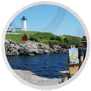 Painting Nubble Lighthouse Round Beach Towel