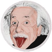 Painting Of Albert Einstein Round Beach Towel
