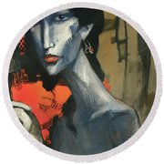 Painting Of The Lady _ 1 Round Beach Towel by Behzad Sohrabi