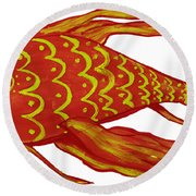 Painting Red Fish Round Beach Towel