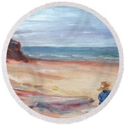 Painting The Coast - Scenic Landscape With Figure Round Beach Towel