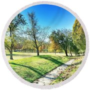 Painting With Shadows - Park Day Round Beach Towel