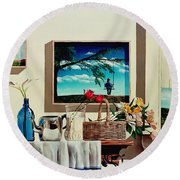Paintings Within A Painting Round Beach Towel