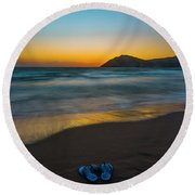 Pair Of Blues Round Beach Towel by Julis Simo