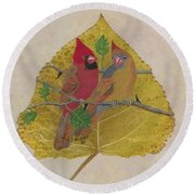 Pair Of Cardinals Round Beach Towel by Ralph Root