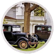 Pair Of Ford Model A  Round Beach Towel