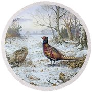 Pair Of Pheasants With A Wren Round Beach Towel by Carl Donner