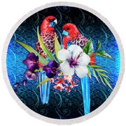 Paired Parrots Round Beach Towel