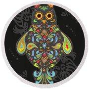 Paisley Owl Round Beach Towel