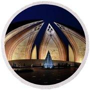 Pakistan Monument Illuminated At Night Islamabad Pakistan Round Beach Towel