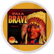 Round Beach Towel featuring the painting Pala Brave 1920s Sunkist Oranges by Peter Gumaer Ogden