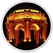 Palace Of Fine Arts - Dome At Night Round Beach Towel