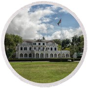 Palace Of President In Paramaribo Round Beach Towel by Patricia Hofmeester