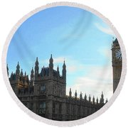 Palace Of Westminster And Big Ben Round Beach Towel