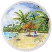 Palappa N Adirondack Chairs On A Caribbean Beach Round Beach Towel