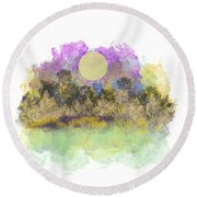 Pale Yellow Moon Round Beach Towel
