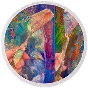 Palette Knife Round Beach Towel
