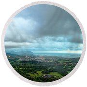 Round Beach Towel featuring the photograph Pali Lookout Dawn by Dan McManus