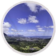 Pali Lookout Panorama Round Beach Towel