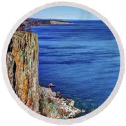 Palisade Head Tettegouche State Park North Shore Lake Superior Mn Round Beach Towel