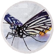 Round Beach Towel featuring the digital art Pallete Knife Painting Blue Butterfly by PixBreak Art