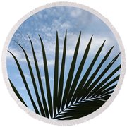Palm And Clouds  Round Beach Towel by Don Koester