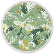Palm And Gold Round Beach Towel