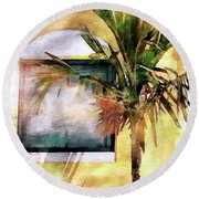 Palm And Window Round Beach Towel