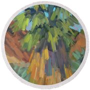 Round Beach Towel featuring the painting Palm At Santa Rosa Mountains Visitors Center by Diane McClary