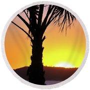 Palm At Sunset Round Beach Towel