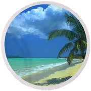 Round Beach Towel featuring the painting Palm Beach In The Keys by David  Van Hulst