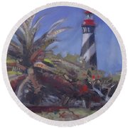 Palm By The Lighthouse Round Beach Towel