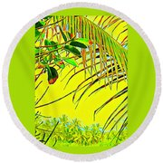 Palm Fragment In Yellow Round Beach Towel
