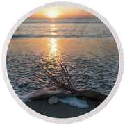 Palm Frond Coral Sunrise Wave Delray Beach Florida Round Beach Towel