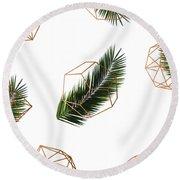 Palm Geometry Round Beach Towel by Uma Gokhale