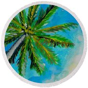Palm In The Sky Round Beach Towel