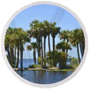 Round Beach Towel featuring the photograph Palm Island by Carol  Bradley