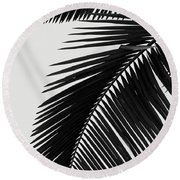 Palm Leaves Bw Round Beach Towel