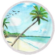 Palm Over Diani Beach Round Beach Towel