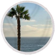 Round Beach Towel featuring the photograph Palm Over The Sea by Brian Eberly
