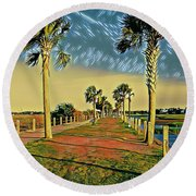 Palm Parkway Round Beach Towel