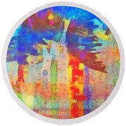Palm Party Round Beach Towel by Holly Martinson