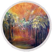 Palm Passage Round Beach Towel