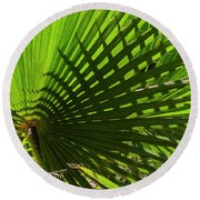 Round Beach Towel featuring the photograph Palm Pattern No.1 by Mark Myhaver