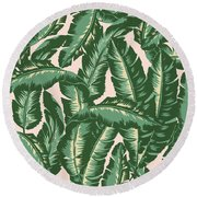 Palm Print Round Beach Towel by Lauren Amelia Hughes