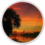 Palm Silhouette Sunrise Round Beach Towel