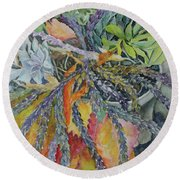 Round Beach Towel featuring the painting Palm Springs Cacti Garden by Joanne Smoley