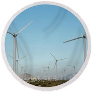 Palm Springs Windfarm Round Beach Towel